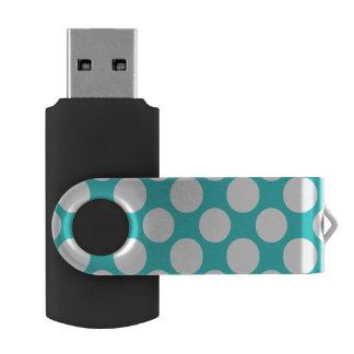 Modernes aquamarines weißes Polka-Punkt-Muster Swivel USB Stick 2.0