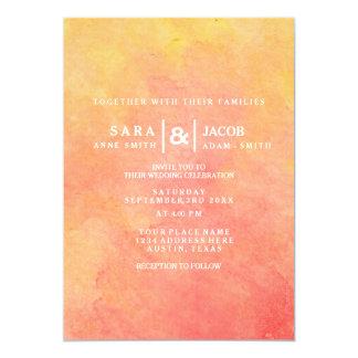 Modernes Aquarell-Pfirsich-Gelber Sonnenuntergang 12,7 X 17,8 Cm Einladungskarte