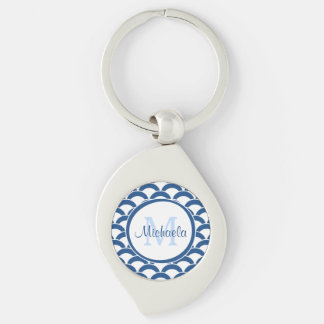 Modernes Blaues und Weiß bogt Monogramm und Namen Silberfarbener Wirbel Schlüsselanhänger