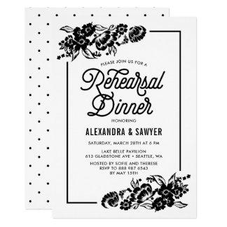 Modernes BlumenProben-Schwarzweiss-Abendessen 12,7 X 17,8 Cm Einladungskarte