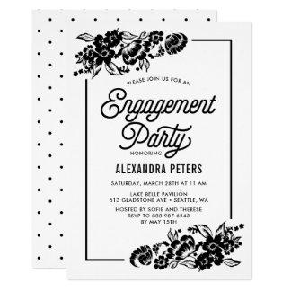 Modernes BlumenVerlobungs-Schwarzweiss-Party 12,7 X 17,8 Cm Einladungskarte