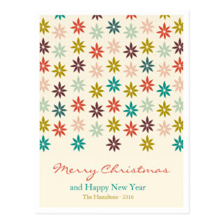 Modernes buntes Poinsettia-Weihnachten Postkarte