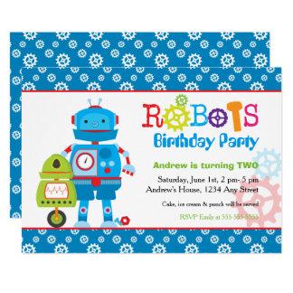 Modernes buntes Roboter-Jungen-Geburtstags-Party 12,7 X 17,8 Cm Einladungskarte