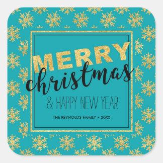 Modernes elegantes Goldblaue frohe Weihnachten - Quadratischer Aufkleber