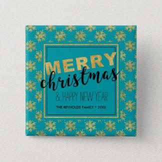 Modernes elegantes Goldblaue frohe Weihnachten - Quadratischer Button 5,1 Cm