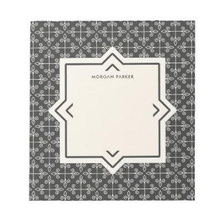 Modernes elegantes Kohlen-und Creme-Muster Memo Blöcke