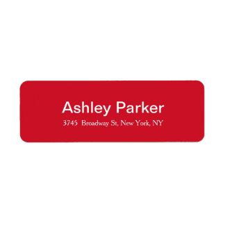 Modernes elegantes rotes weißes stilvolles Rückversand-Adressaufkleber