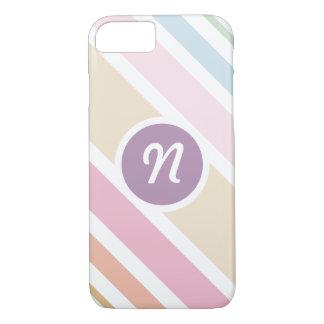 Modernes feines Pastellfarbgewohnheits-Monogramm iPhone 8/7 Hülle