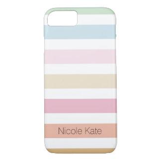 modernes feines Pastellfarbmonogramm iPhone 8/7 Hülle