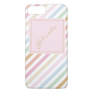 modernes feines Pastellfarbmonogramm iPhone 8 Plus/7 Plus Hülle