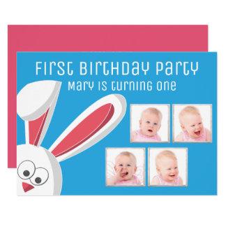 Modernes Foto-Collagen-Baby-Mädchen-1. 12,7 X 17,8 Cm Einladungskarte