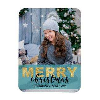 Modernes Goldblaue frohe Weihnachten - Foto-Magnet Magnet