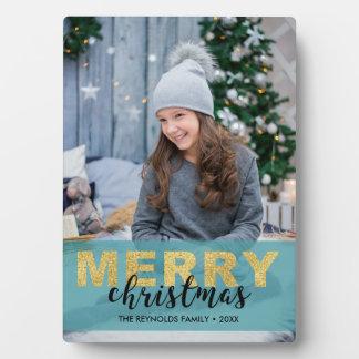 Modernes Goldblaue frohe Weihnachten - Fotoplatte