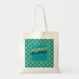 Modernes Goldblaue frohe Weihnachten - Tragetasche