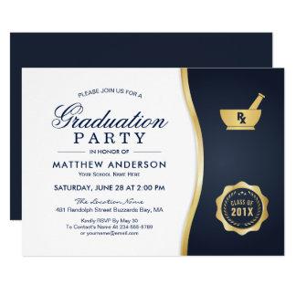 Modernes Goldblaues Apotheken-SchulAbschluss-Party 12,7 X 17,8 Cm Einladungskarte