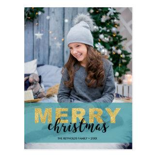 Modernes Goldblaues frohe Weihnacht-Foto - Postkarte