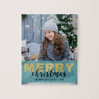 Modernes Goldblaues frohe Weihnacht-Foto - Puzzle
