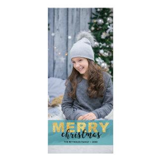 Modernes Goldblaues frohe Weihnacht-Foto - Werbekarte