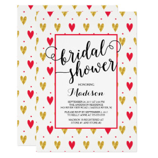 Modernes Goldrote Herz-Brautparty-Einladung 12,7 X 17,8 Cm Einladungskarte