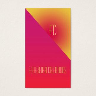 Modernes Monogramm-Visitenkarte Pinkgelb Visitenkarten