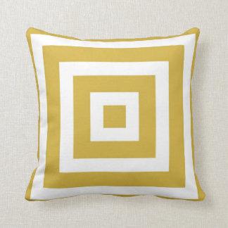 Modernes quadratisches Muster im Senf und im Weiß Kissen