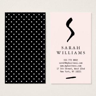 Modernes rosa einfaches Schwarz-weißes Visitenkarte