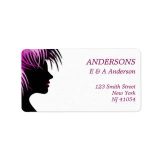 Modernes rosa Haar Adressen-Etikett Adress Aufkleber