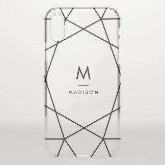 Modernes schwarzes geometrisches | Monogramm iPhone X Hülle