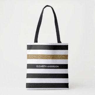 Modernes Schwarzes Stripes IMITAT GoldGlitz und