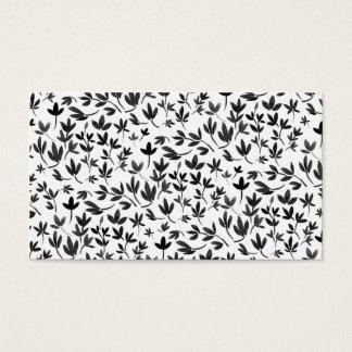 Modernes Schwarzweiss-Aquarell-Blumenmuster Visitenkarten