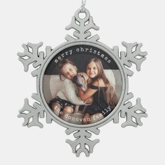 Modernes Schwarzweiss-Feiertags-Foto der Schneeflocken Zinn-Ornament