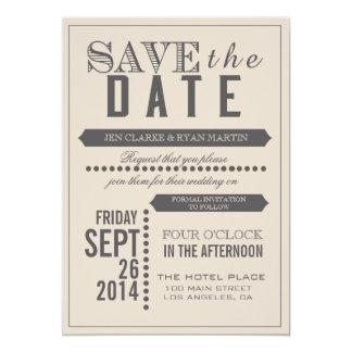 Modernes Skript beige u. Grau Save the Date 12,7 X 17,8 Cm Einladungskarte