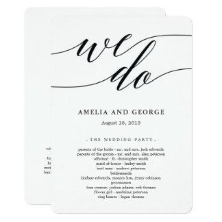 Modernes Skript-Hochzeits-Zeremonie-Programm Karte