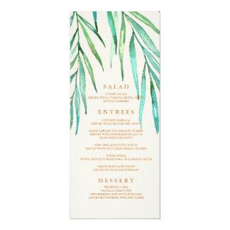 Modernes tropisches Strand-Hochzeits-Menü Karte