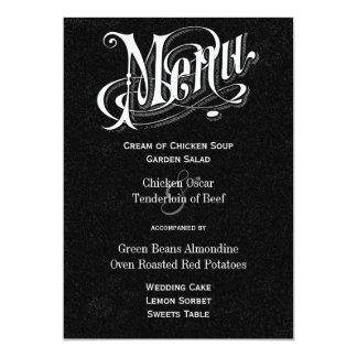Modernes Vintages Typografie-Tafel-Hochzeits-Menü 12,7 X 17,8 Cm Einladungskarte