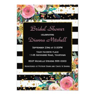 Modernes Watercolor-Blumenstrauß-Brautparty 12,7 X 17,8 Cm Einladungskarte