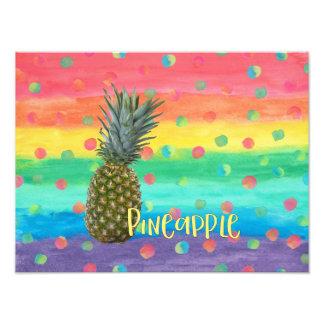 Modische Ananas-Regenbogen-Streifen und Punkte Fotodruck