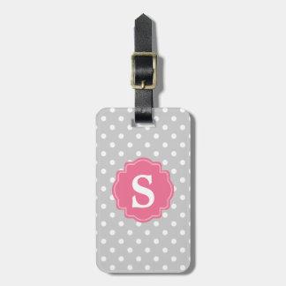 Modische graues Weiß-Tupfen u. rosa Monogramm Koffer Anhänger