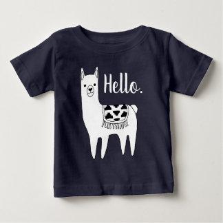 Modische schwarze u. weiße Lama-Skizze hallo Baby T-shirt