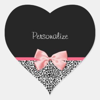 Modischer Leopard-Druck und rosa Band mit Namen Herz-Aufkleber