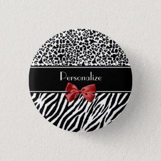 Modischer Schwarzweiss-Leopardzebra-Druck-roter Runder Button 3,2 Cm