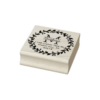 Modisches BlumenKranz-Gewohnheits-Monogramm Gummistempel