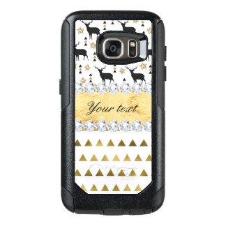 Modisches Rotwild-Dreieck-Muster und Diamanten OtterBox Samsung Galaxy S7 Hülle