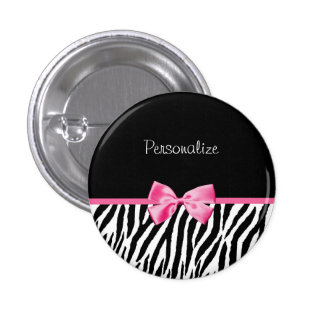 Modisches Schwarzweiss-Zebra-Druck-Rosa-Band Runder Button 3,2 Cm