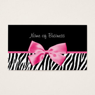 Modisches Schwarzweiss-Zebra-Druck-Rosa-Band Visitenkarten