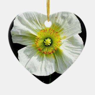 Mohnblume Keramik Herz-Ornament