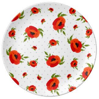 Mohnblumen-Blumen Porzellanteller