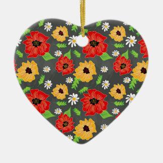 Mohnblumen im Rot u. im Gelb Keramik Herz-Ornament