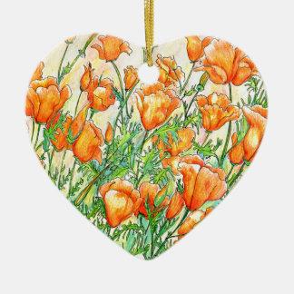 Mohnblumen Keramik Herz-Ornament