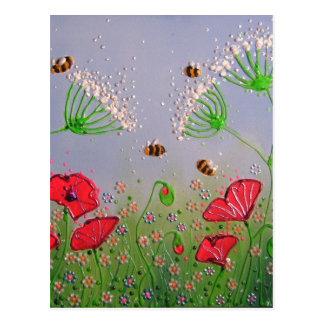 Mohnblumen und Bienen Postkarte